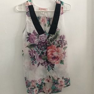 Band of gypsies sleeveless floral blouse